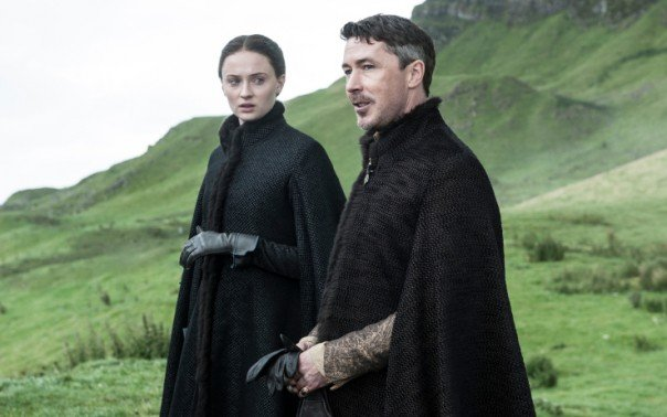 Sophie Turner and Aidan Gillen in Game of Thrones