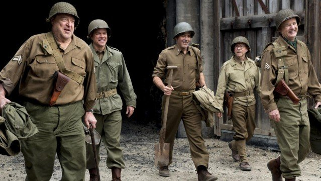 The Monuments Men walking outside