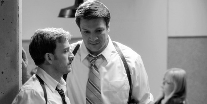 Tom Lenk and Nathan Fillion in Joss Whedons Much Ado About Nothing 670x337 Much Ado About Nothing Review [SXSW 2013]