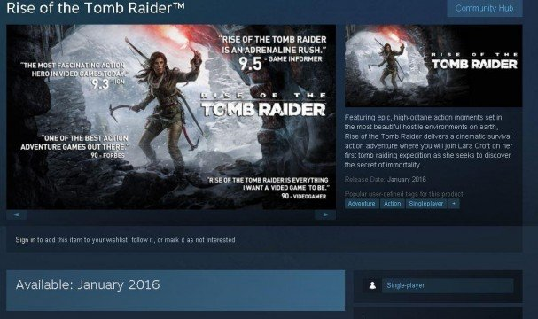 Steam Listing Pegs Rise Of The Tomb Raider PC Release For January 2016