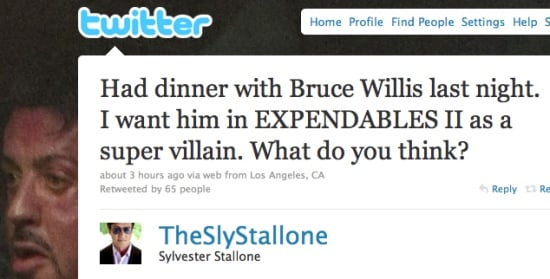 Stallone Suggests On Twitter To Have Bruce Willis As Super Villain In Expendables II