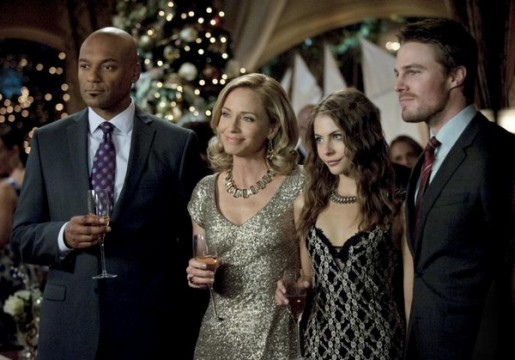 Colin Salmon, Susanna Thompson, Willa Holland and Stephen Amell in Arrow