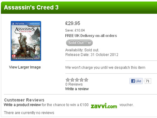 Retailer Listing Outs Assassin's Creed III And Ghost Recon For Vita