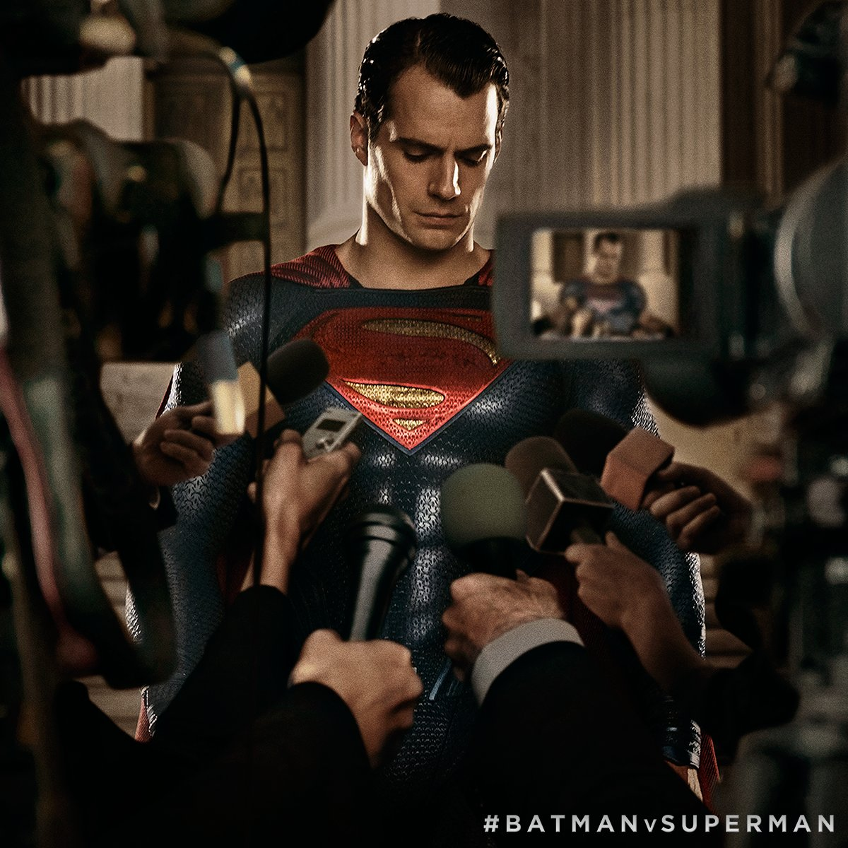 Henry Cavill's Solemn Messiah Faces The Press In New Batman V Superman: Dawn Of Justice Image