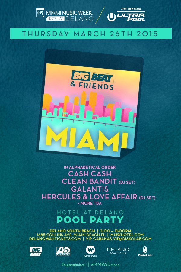 Clean Bandit, Cash Cash, Galantis And More To Play Big Beat And Friends Pool Party In Miami