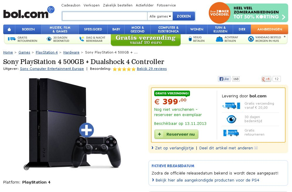 bol ps4 nov 13 release European Retailers List PlayStation 4 For November 13th Release