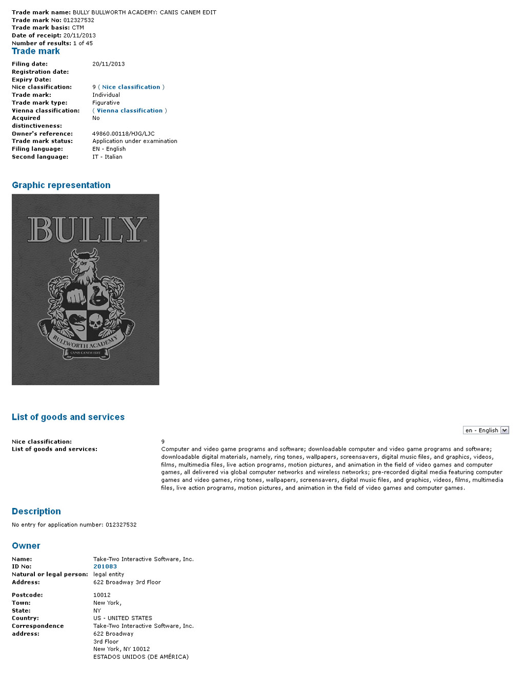 "Take-Two Files ""Bully Bullworth Academy: Canis Canem Edit"" Trademark In Europe"