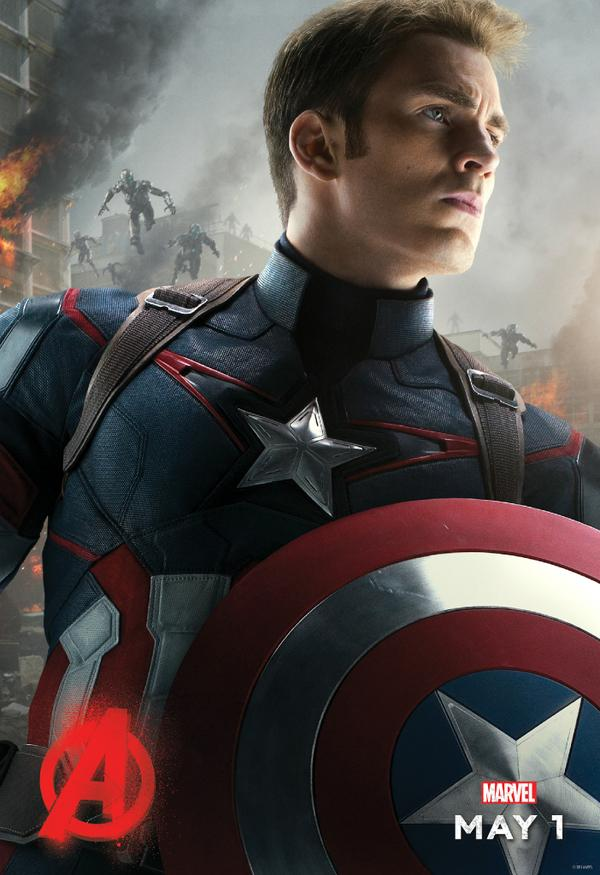 Captain America Takes The Spotlight In Avengers: Age Of Ultron Character Poster