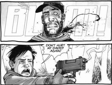 carl shooting shane walking dead 477x360 10 Reasons Why The Walking Dead Comic Is Better Than The TV Show