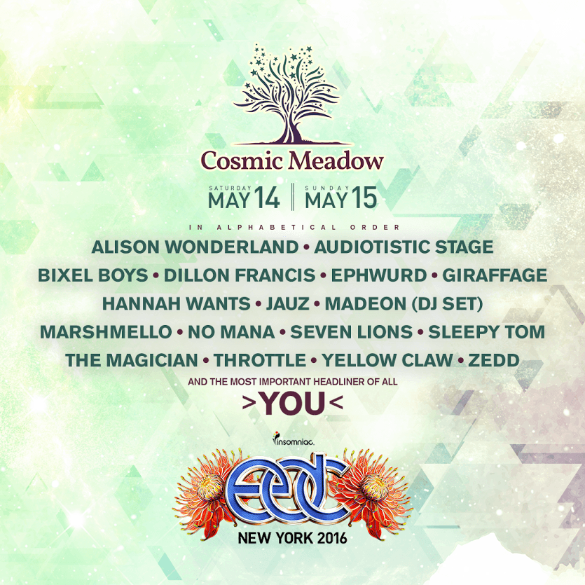 EDC New York's Cosmic Meadow Stage Lineup Has Something For Everyone