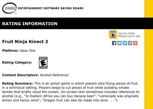 The ESRB Has Rated Fruit Ninja Kinect 2 For Xbox One
