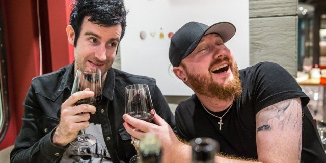 knife-party-goofing-off-drinking-wine