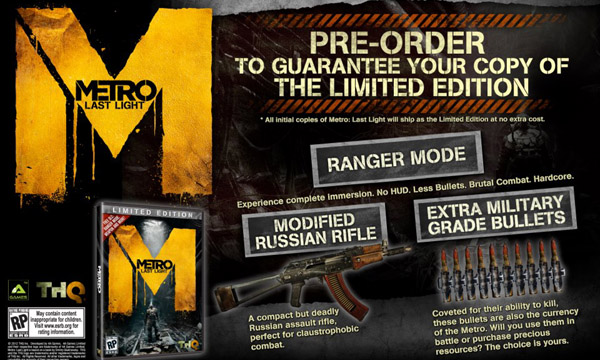 Metro: Last Light Launch Copies Include Limited Edition Ranger Mode