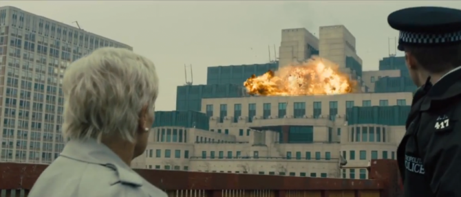 mi6 headquarters explosion 670x287 10 Movies In Which Famous Monuments Come Under Attack