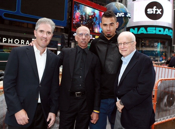 mitchell-slater-vice-chairman-of-the-board-of-directors-robert-f-x-sillerman-ceo-of-sfx-afrojack-and-sheldon-finkel-vice-chairman-rings-the-nasdaq-closing-bell-on-october-9-2013-in-nyc