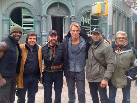 Chuck Norris On The Set Of The Expendables 2