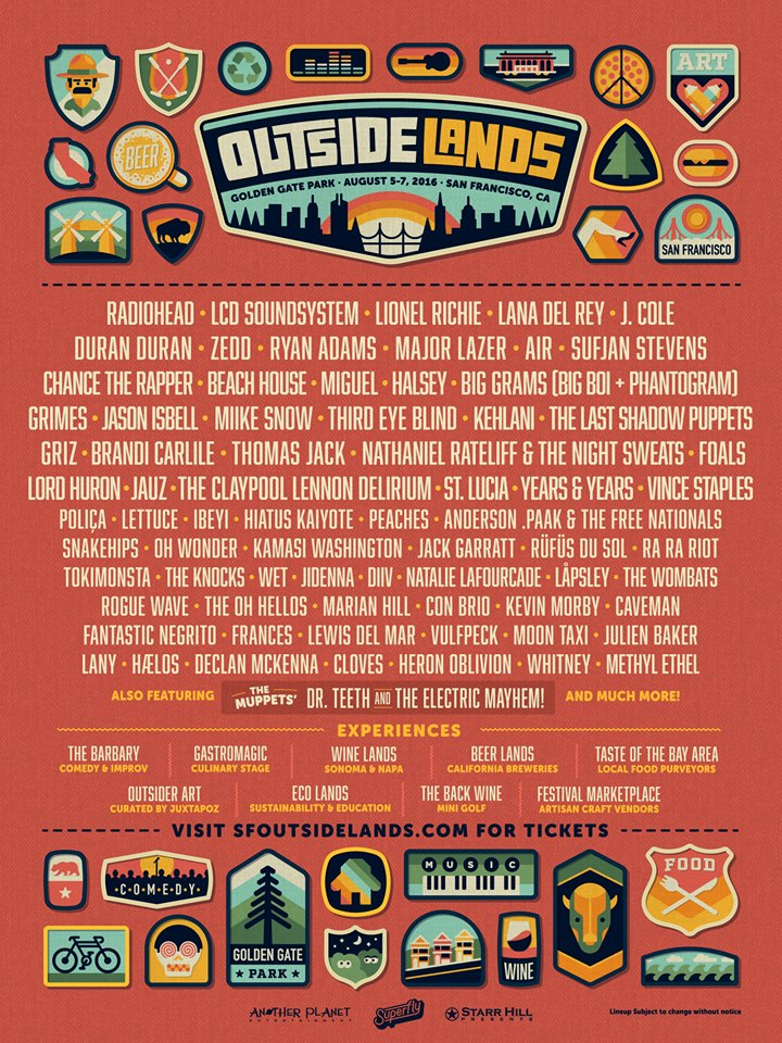 Outside Lands Announces Lineup For 2016 Edition