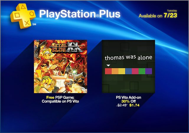 PlayStation Plus Update: Free Metal Slug XX, And Discounted Thomas Was Alone DLC
