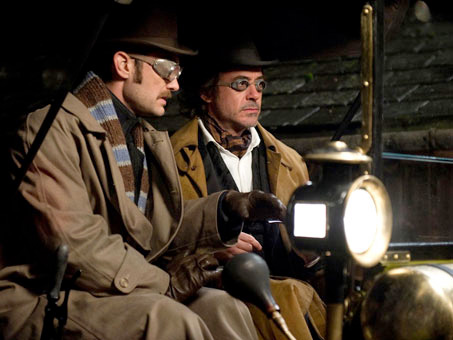 sherlockholmes2 duo glasses full Jude Law Offers Brief Sherlock Holmes 3 Update
