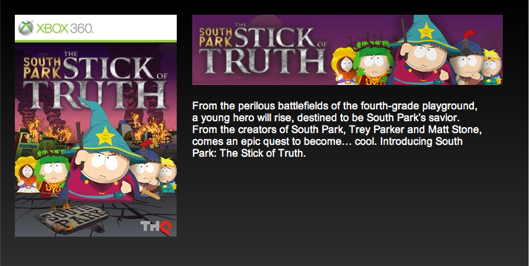 South Park: The Game May Henceforth Be Known As South Park: The Stick Of Truth