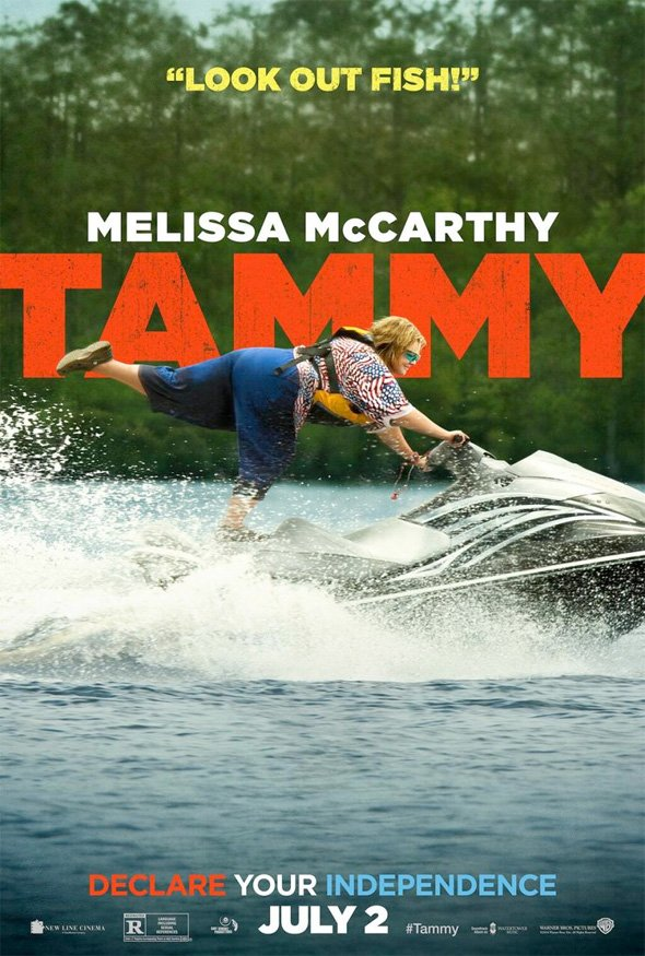 tammy poster jetski full Melissa McCarthy Is A Road Ready, Jetski Riding, Burger Joint Robbing Menace In New Tammy Posters
