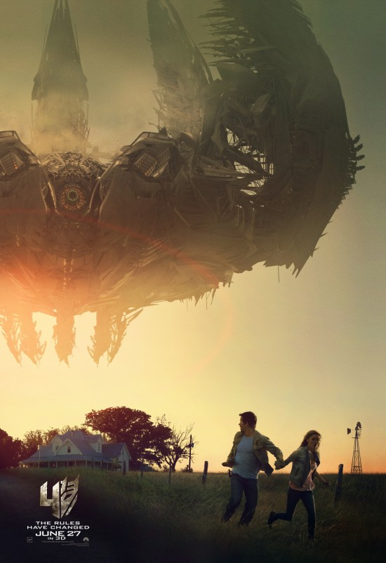 Mark Wahlberg Runs Away On New Transformers: Age Of Extinction Poster