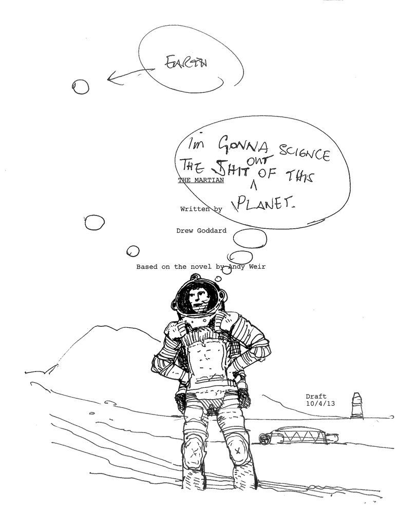 Cover Sheet Of Ridley Scott's The Martian Script Has Been To Space