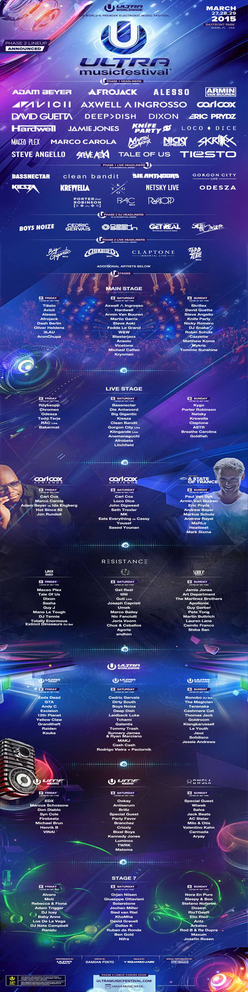 Ultra Music Festival Announces Phase 2 Lineup For 2015