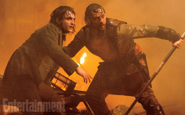 Daniel Radcliffe And James McAvoy Take Cover In Victor Frankenstein Image