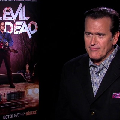'Exclusive Video Interview: Bruce Campbell, Lucy Lawless And Jill Marie Jones Talk Ash Vs. Evil Dead' from the web at 'http://cdn.wegotthiscovered.com/wp-content/uploads/vlcsnap-2015-10-27-22h56m26s457-400x400.jpg'