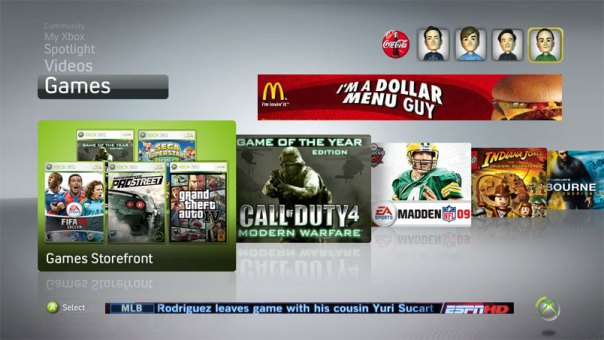 xbox 360 dashboard ads 5 Things Microsoft Can Do With Xbox 720 To Win The Next Generation